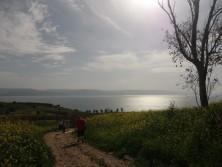 Die Gruppe wandert zum See Genezareth